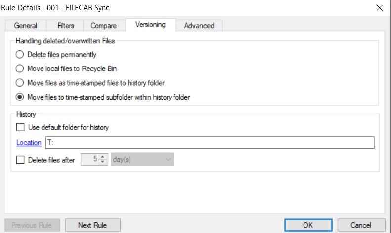 SyncFolders Rule History